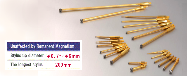 不良品の原因にもなる、測定誤差を引き起こす磁力。 NISSINはその磁力にいち早く着目、新しい金属の開発に成功、特許取得に至りました。 登録番号:第4072282号。 日新産業の測定子(スタイラス)は非磁性なので磁力の影響を受けません!