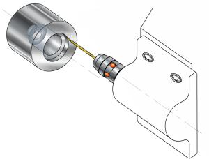 将测距仪安装到刀架上并开始测量